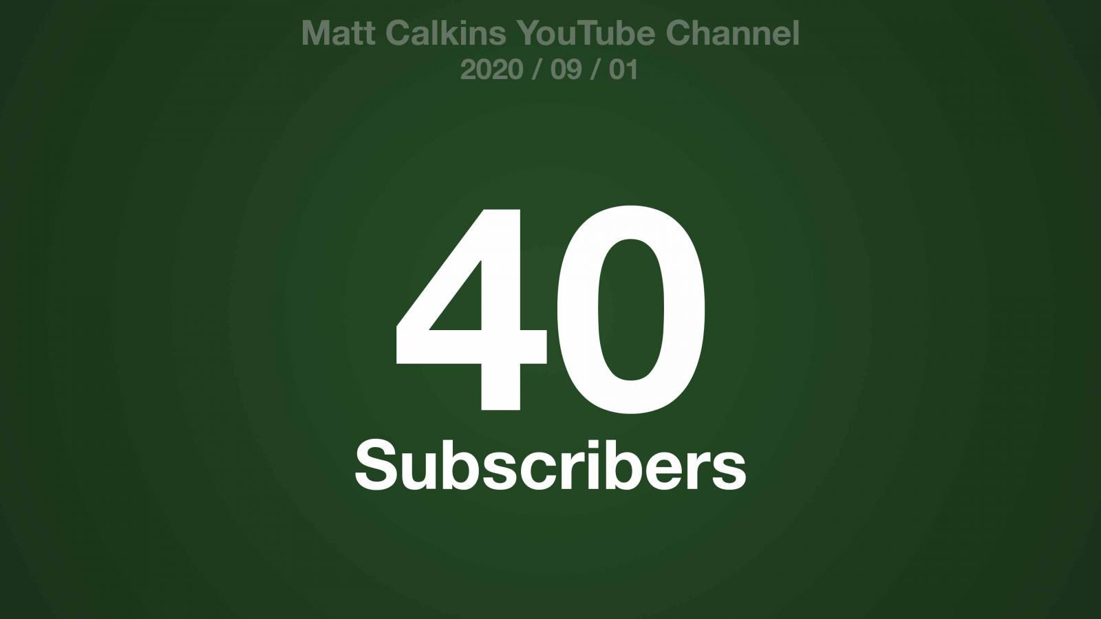 A green radial gradient with the text: Matt Calkins YouTube Channel 2020/09/01 40 Subscribers