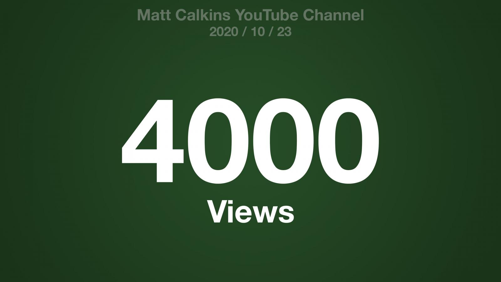 A green radial gradient with the text: Matt Calkins YouTube Channel 2020/10/23 4000 Views